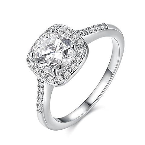 Amour Eternel Bague Femme 18K Or Plaqué Zircon Cubique Diamant Bague de Fiançailles Bague d'anniversaire Alliance de Mariage, White Gold , 5