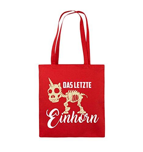 Comedy Bags - Das letzte Einhorn - SKELETTE - Jutebeutel - lange Henkel - 38x42cm - Farbe: Schwarz / Weiss-Pink Rot / Weiss-Beige