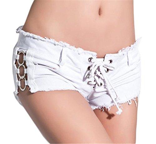 Damen Low Waist Low Waist Mini Niedrige Taille Denim Shorts Hotpants Damenhose (Stretch-shorts Niedrige Taille)