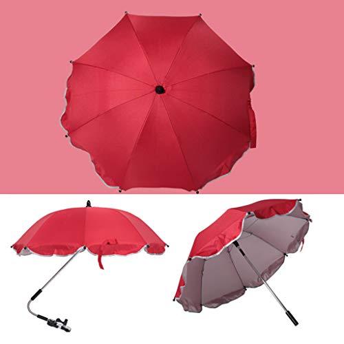 Manyo Ombrelle Poussette Universelle Flexible- Acier Inoxydable, Parapluie Poussette Mains Libres Anti UV, Coupe-vent, Imperméable, Pare Soleil Poussette Accessoires- Diamètre 13,98'' (Rouge)