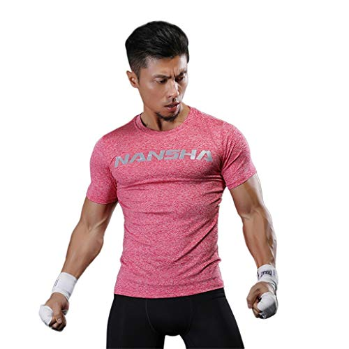 Herren Sport Kurzarm T-Shirt, Cool Dry Athletic Fitness Workout Athletic Running Training Gym T-Shirts Dri Fit Base Layer Compression Tops L hot pink