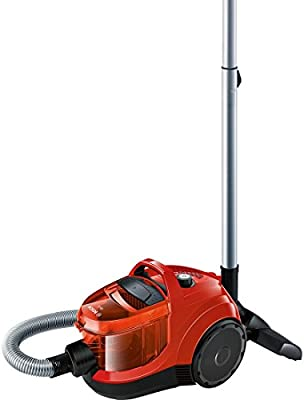 Bosch BGC1UA110 GS-10 - Aspirador sin bolsa, diseño ultra-compacto, 700 W, filtro lavable, cepillo especial parquet, color rojo
