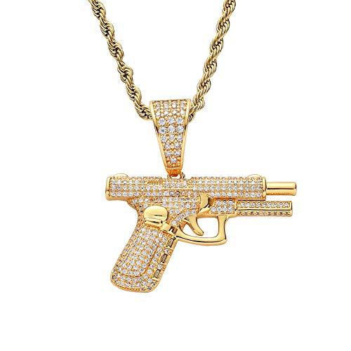 Hiphop Anhänger, Gewehr Männer Halskette Iced Out Pistole Kette Revolver Anhänger Vergoldet Micro Inlay Zirkon CZ Mode Schmuck Zubehör für Geschenk,Gold