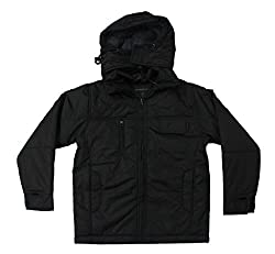 Romano Kids Black Water Wind Snow Resistant Jacket With Hood for Boys and G...
