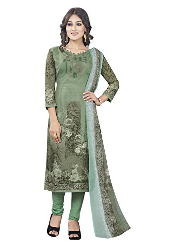 Ishin Synthetic Green Party Wear Bollywood New Collection Printed Unstitched Salwar Suit...