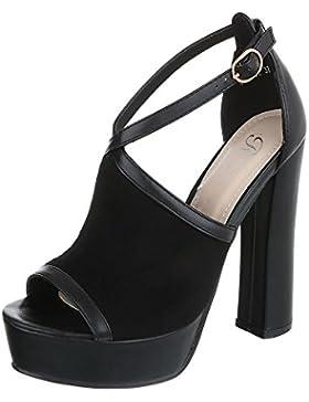 High Heel Sandaletten Damenschuhe Plateau Pump High Heels Schnalle Ital-Design Sandalen / Sandaletten