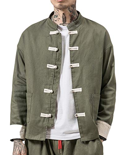 QitunC Herren Stehkragen Jacke Strickjacke Baumwoll-Leinen-Mischung Retro Chinesischen Stil Mantel Tang Anzug Armee-Grün XXXL - Leinen-mischung-anzug-jacke