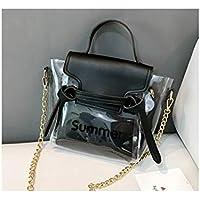 LridSu Bolso Clutch Bolso Transparente Bolso Transparente Simple Moda con Letras Claro Bolso Mujeres Jalea Caramelo Color Cadena Bolso de Hombro (Negro)
