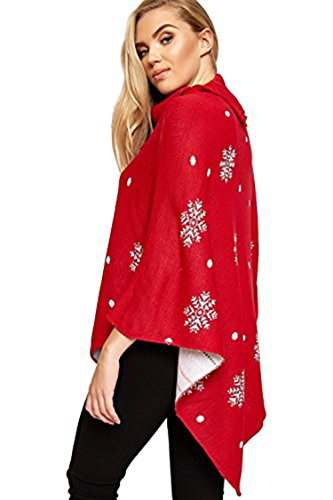 Friendz Trendz -Women A Merry Christmas Bauble Fiocco di neve Capo Poncho BAUBLE RED