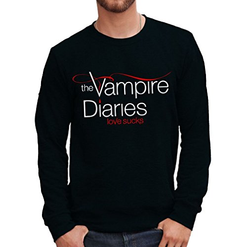 Sweatshirt Vampire Diaries Love Sucks - Film By Mush Dress Your Style - Herren-M Schwarz