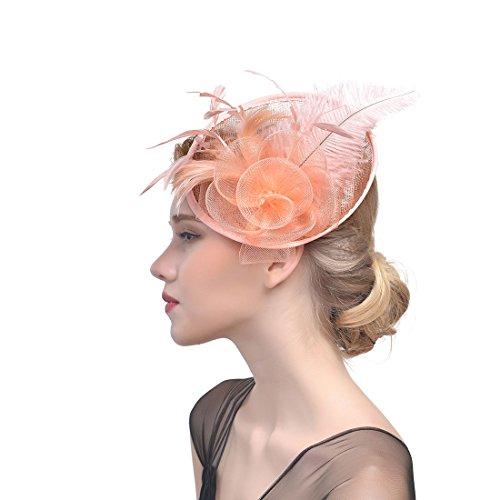 LIAN Bowler Hat Bridal Mesh Garn Feder Kopfschmuck Royal Party Kostüm Kopfbedeckungen (Farbe : Champagner)