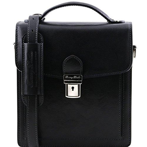 Tuscany Leather David Elegante Herrentasche aus Kalbsleder - Klein Braun Schwarz
