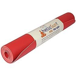 helloSun Esterilla Yoga Calidad Premium, Goma Natural, Agarre Extra, Anti Deslizante, Absorbe la Humedad, Ligera, Certificado OEKOTex, Hecha en Europa, 4mm, Varios Colores (Rojo)