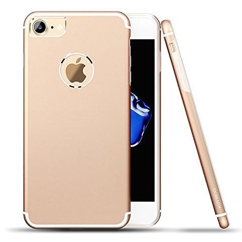 iPhone 7 Hülle, Roybens Metall Silikon 2 in 1 Extra Dünn Stoßfest Schalen Taschen + Panzerglas Schutzfolie Folie für 2016 Apfel [Apple] iPhone7, Gold