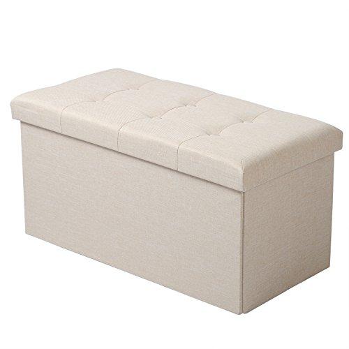 Woltu sh10cm-1 pouf contenitore panche sgabello pieghevole poltrona poggiapiedi cassapanca scarpiera con coperchio rimovibile lino oxford 76x37,5x38cm beige