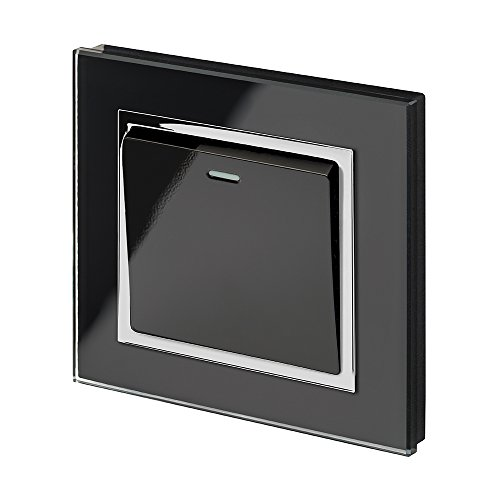 Retrotouch Crystal 1-Gang 2-Way 10A Light Switch Black Glass with Chrome Trim