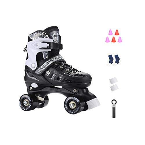 Ailj Roller Schuhe, Roller Skates Erwachsene Zweireihige Schlittschuhe Unisex Einstellbare Rollschuhe Komplettsatz (3 Farben) (Farbe : SCHWARZ, größe : L (39-42 Yards))