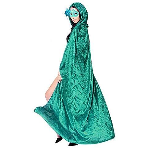 Ourlove Fashion Longue cape à capuche en velours Costume Halloween Cosplay Vampire Sorcière Adulte Unisexe - vert -
