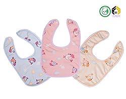 Vijkan Aarushi Cotton Waterproof Baby Bibs Pack of 3 (Multicolor)