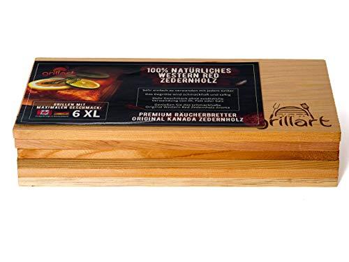 41wWsIRqwnL - 6 Pack XL Grillbretter - Zedernholzbrett zum Grillen - Räucherbretter aus Zedernholz von grillart® hergestellt aus 100% natürlichem Western Red Zedernholz für einen besonderen Grillgeschmack