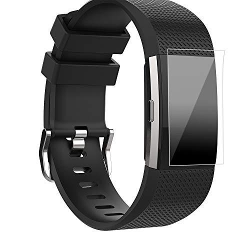 WAOTIER für Fitbit Charge2 Armband Silikon Armband mit 1 HD Schutzfolie Atmungsaktiver Armband für Fitbit Charge 2 Watch Armband mit Metall Verschluss Wasserdichter Armband für Männer Frauen (Schwarz)