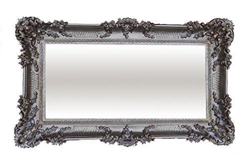 Wandspiegel Barockspiegel Spiegel Altsilber 96x57 Antik Barock Rokoko Luxuriös prunkvoll Neu