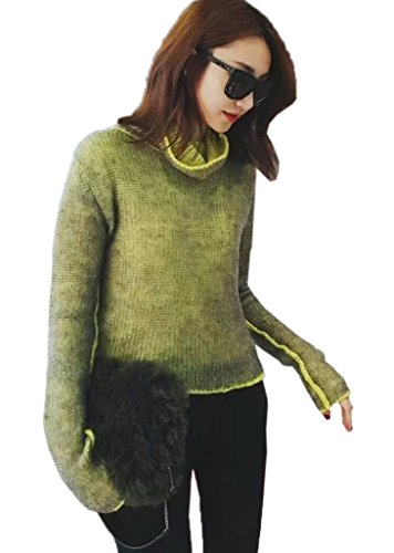 Bigood Femme Casual Pulls Uni Manteau en Tricot Sweater Loose Montant Lâche Jaune