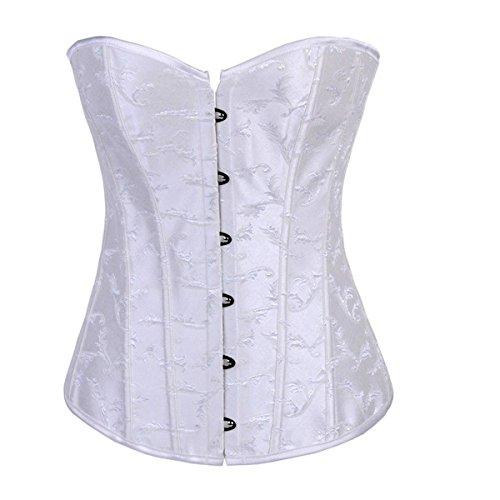 Satin Brocade Lace Up Korsett (Corsagentop Corsage Korsett Bustier Korsage Schwarz Weiss Gothic Corset Shirt (EUR(36-38)L, Weiß))