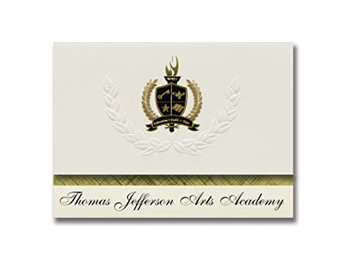 Signature Announcements Thomas Jefferson Arts Academy (Elizabeth, NJ) Graduationsankündigungen, Präsidential-Stil, Grundpaket mit 25 goldfarbenen und schwarzen metallischen Folienversiegelungen