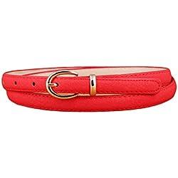 Lumeidon Mujer Colores Del Caramelo Aguja Hebilla Cinturones Personalidad Salvaje Cinturón De Cuero Fina Rojo(105CM)
