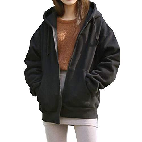 i-uend 2019 Damen Mantel - Winter Damen Hoodie mit Kapuze Kapuzenjacke Kapuzenpullover - Sweatjacke Pullover Jacke für Winter/Herbst/Frühling