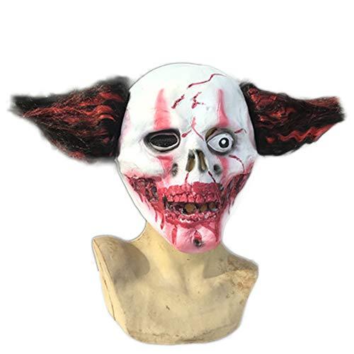 Gruseligsten Zombie Kostüm - Nightghost Halloween Glatze Clown Maske, Zombie Skull Joker Masken, Scary Kostüm spielt Helm, schreckliche Perücke Film und Game Work Make-up Requisiten