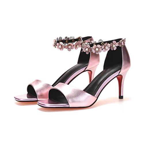 Heart&M Estate solido di colore del cuoio genuino delle donne Fiore Decor 7CM High Heels Peep-toe sandali stiletto Pink