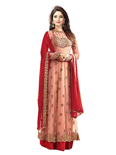 Clothfab Women\'s Net Sequins Embroidered Bridal Party Wear Anarkali Salwar Suit Dress Material (Dresses-25005_Pink-Red-Colour_Free Size)