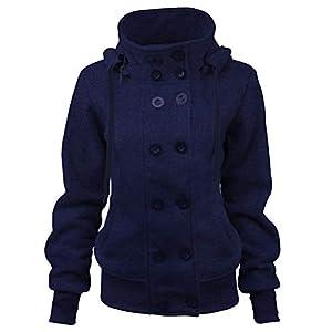 Luckycat Frauen Winter Warm Zweireiher Mit Kapuze Lange Dünne Freizeitjacke Mantel Outwear Jacken Mäntel Sweatjacke Winterjacke Fleecejacke Steppjacke