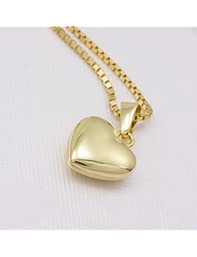 ASS 333 Gold Damen Kinder Anhänger Herz Herzanhänger glanz 9 mm, Gelbgold mit Gold Double Kette im Set