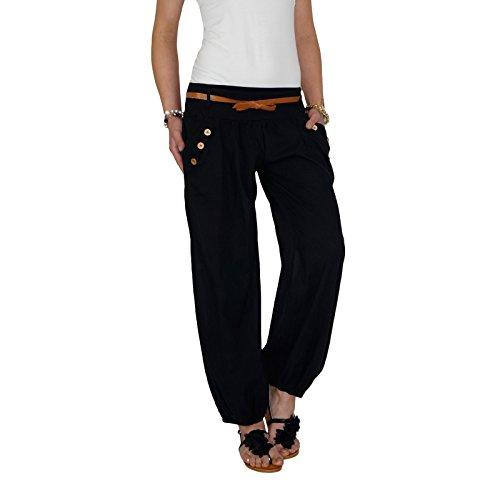DB Damen Sommerhose mit Stoffgürtel (One Size, Schwarz)