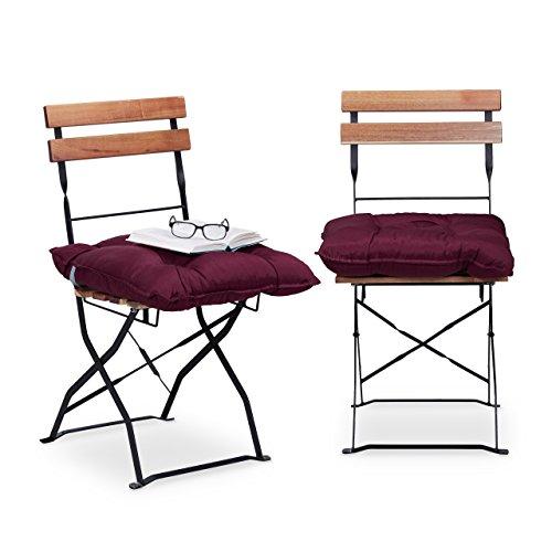 Relaxdays Sitzkissen 45 x 45 cm, 2er Set Gartenstuhlauflage mit Band, bequeme Sitzpolster für Garten und Heim, rot