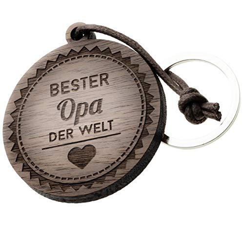 Schlüsselanhänger Holz mit Gravur Opa' rund -