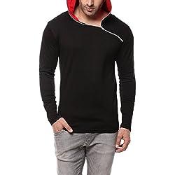 GRITSTONES Full Sleeve Hooded T-Shirt (GSFSHDZIP1291BLKRD_L_Black/Red)