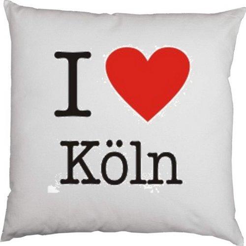 Kissen mit Füllung, Dekokissen, Couchkissen, Deko mit Herz - I love Köln