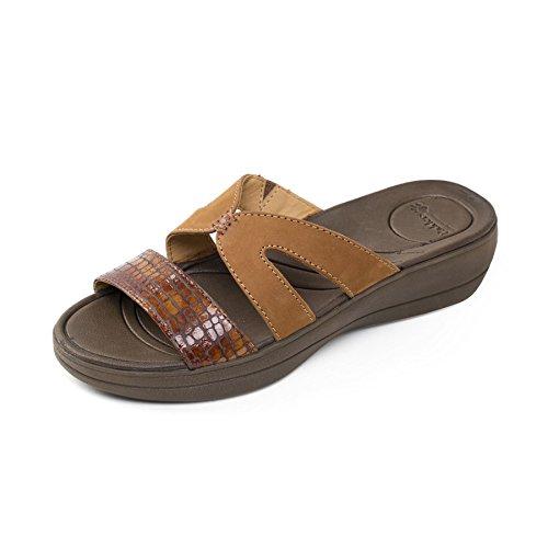 donne Padders pelle sandalo Charlie | Extra grande larghezza di EE | calzascarpe libero Tan Combi