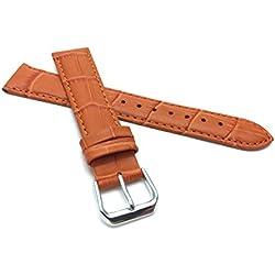 12mm Orange Womens' Alligator Style Genuine Leather Watch Strap Band