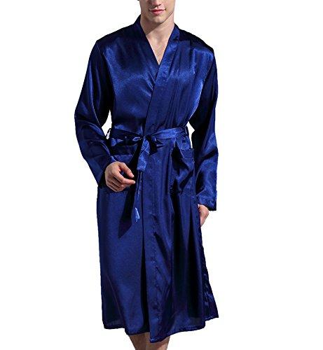 Surenow Albornoz Pijama Camisón Robe Bata Ropa de Dormir para Hombre Satín
