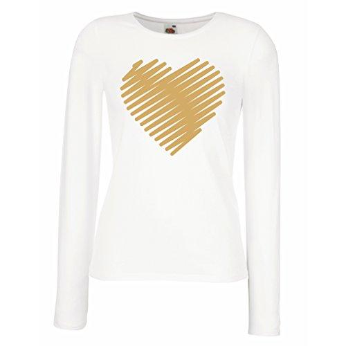 lepni.me Weibliche langen Ärmeln T-Shirt Stilvolle Herzen, ich liebe dich Geschenke Valentinstag Outfits (Large Weiß - Para De Papel Halloween Decoraciones