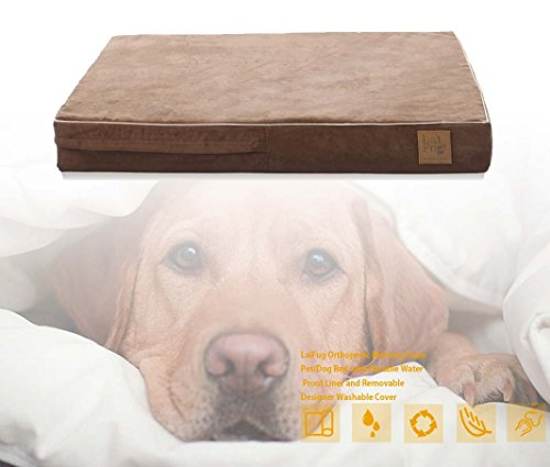 LaiFug-Orthopedic-Memory-Foam-PetDog-Bed-Large-1177111-Chocolate-with-Durable-Water-Proof-Liner-and-Removable-Designer-Washable-Cover