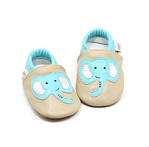 Goldore 100% cuir véritable semelle souple Newborn Infant Toddler antidérapants Chaussures pré-walker 0-2 ans
