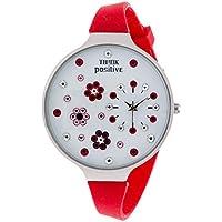 Orologio Donna, Think Positive, Modello SE W112 Flowers Large Acciaio, Cinturino Di Silicone, Orologio Analogico Fashion, Rosso
