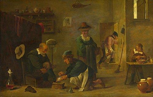 Das Museum Outlet–Imitator von David Teniers der Jüngere eine Doctor –, die ein des Patienten Fuß in seiner Operation, gespannte Leinwand Galerie verpackt. 50,8x 71,1cm