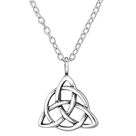 EYS JEWELRY® Damen-Halskette 45 cm Keltischer Dreiecks-Knoten Trinity 10 x 11 mm blank 925 Sterling Silber oxidiert silber im Schmuck-Etui Anhänger Kette